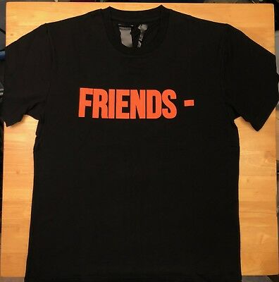 3c3950fc5 FREE SHIPPING VLONE FRAGMENT FRIENDS TEE SHIRT BLACK ORANGE GINZA sz ...