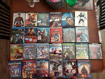 Marvel  lot of 27 Bluray 4k 3D Lot Phase 1 2 3 Steelbooks