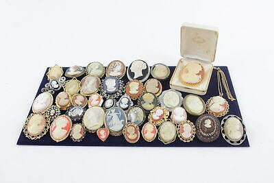 40 x Vintage & Retro CAMEO BROOCHES inc. Quirky, Rhinestone, Nicely Set