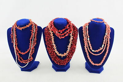 10 x Vintage & Retro CORAL JEWELLERY inc. Carved Beads, Stunning Necklaces