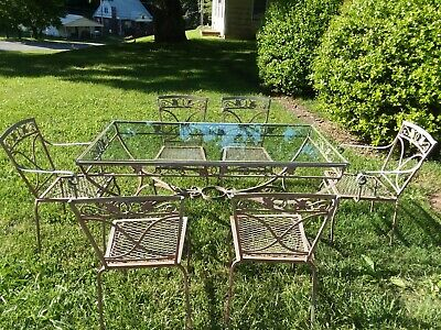 VINTAGE ORIG. 1950's-60 WOODARD PATIO SET WROUGHT IRON GLASS TOP TABLE 6 CHAIRS