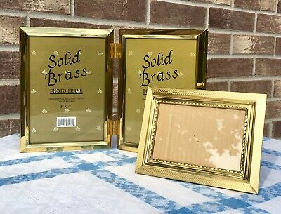 Vintage Lot Of Elegant Solid Brass Photo Frames One Double 5x7 One Ornate 3.5x5