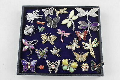 25 x Vintage & Retro INSECT/BUTTERFLY BROOCHES inc. Rhinestone, Enamel