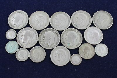 Lot Of Vintage Pre 1947 GEORGE V & VI Mixed Denomination Silver Coins (155g)