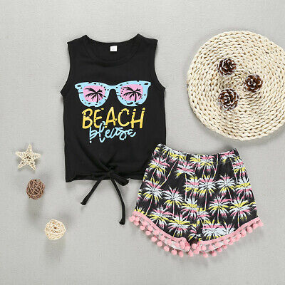 2Pcs Tops+Tree Toddler Baby Sleeveless Letter Print Tassels Shorts Outfits Sets