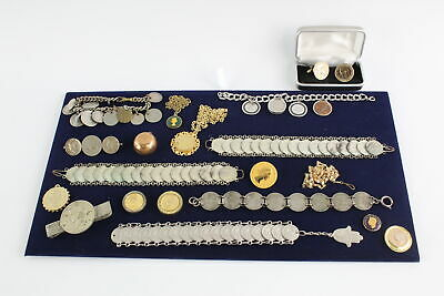 18 x Vintage & Antique COIN JEWELLERY inc. Necklaces, Cufflinks Bracelets