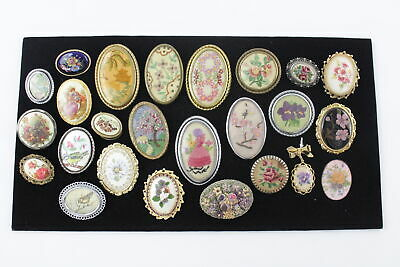 25 x Vintage & Retro Gold Tone BROOCHES inc. Embroidered, Hand Painted