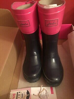 be97b4f91 JOULES WELLY GIRLS Navy Blue Hot Pink Bows RAIN BOOTS KID Toddler ...