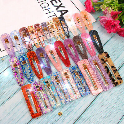 Waterdrop Sequins Hairpin Geometric Shiny Acrylic Hair Clips Hollow Barrettes