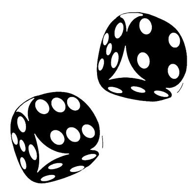 Two Dice Sticker Motorcycle Laptop Window Vinyl Truck Wall Bumper Van Art Decal