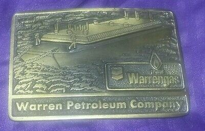 Vintage Brass Belt Buckle Advertising Chevron Warren Gas Petroleum Oil Biker