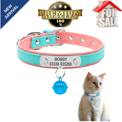 Soft Padded Leather Personalized Dog Collar Name ID for Medium Dogs Durable NEW