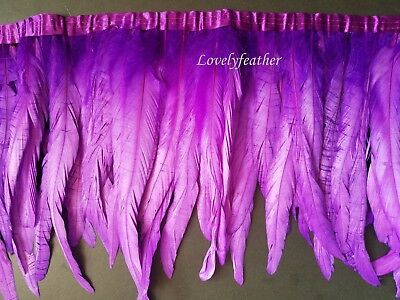 Coque tail feather fringe of purple colour 10 yards trim