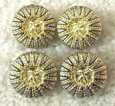 Vintage Two Tone Sunburst Decorative Metal Buttons Gold Silver Tone Set Of 4