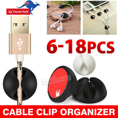 6-18pcs Cable Clips Tidy Cord Lead Organiser USB Charger Holder Drop Black