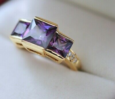 Antique Jewellery Ring Amethyst and White Sapphires Vintage Jewelry size R 9