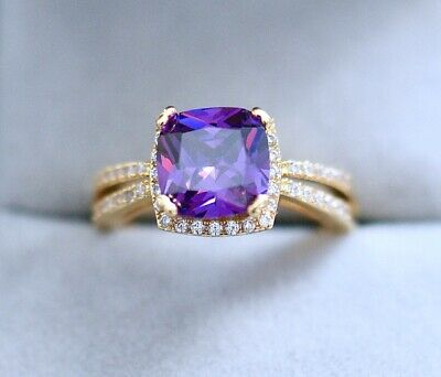 Vintage Jewellery Gold Ring Amethyst White Sapphires Antique Deco Jewelry P 8