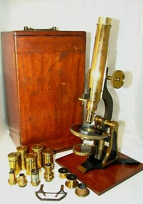 old rare antique brass MICROSCOPE H.GROUCH 51 LONDON WALL,LONDON 344