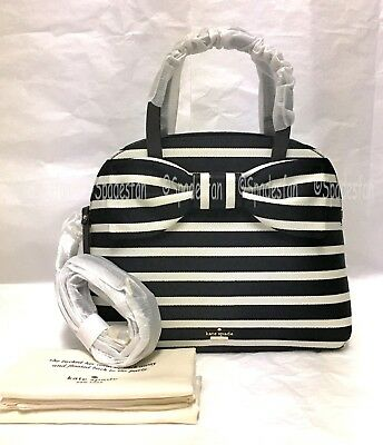 Kate Spade PXRU8445 Olive Drive Stripe Lottie Satchel Purse BLACK Natural NWT