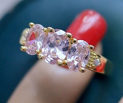 Vintage Deco Jewellery Ring Pink White Sapphires Antique Jewelry Sz R1/2 or 9