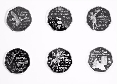 2019 IOM Peter Pan 50p Set Circulated Quality Six Coins in Individual Wallets
