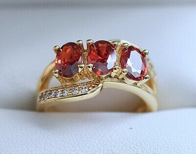 Antique Deco Jewellery Gold Ring Ruby White Sapphires Vintage Jewelry sz N or 7