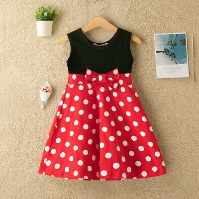 Toddler Baby Kid Girls Sleeveless Patchwork Dot Print Bow Princess Dress Spotted