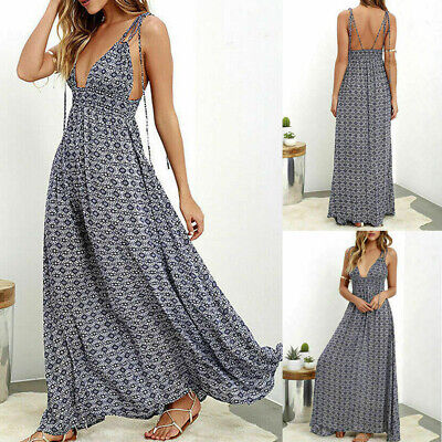 Boho Women Sexy Deep V neck Blackless Long Maxi Dress Evening Party Sundress New