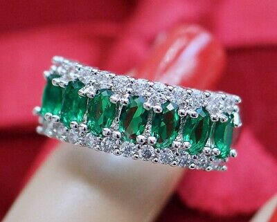 Antique Art Deco Jewellery Ring Emerald White Sapphires Vintage Jewelry  P or 8