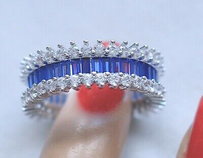 Antique Art Deco Jewellery Ring With Blue White Sapphires Vintage Jewelry  R