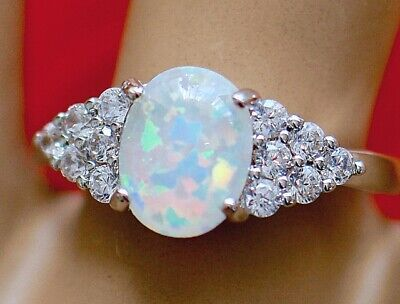 Art Deco Vintage Jewellery Ring Opal White Sapphires Antique Jewelry Size 7 or N