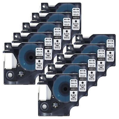D1 Label Tape 45013 S0720530 Compatible DYMO LabelManager 160 Black onWhite 10PK