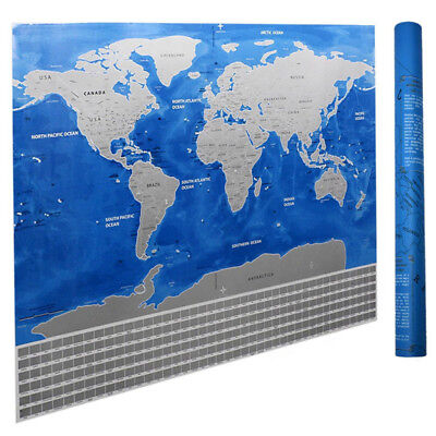 Deluxe Scratch Off Travel World Map Poster Journal Log Wall Sticker Home Decor