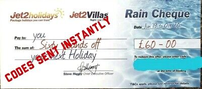 Jet2 Holidays £60 Rain Cheque voucher Expires OCT 2019 BUY ONE GET ONE FREE