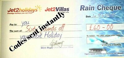50×Summer 2020 Jet2 Holidays £60Rain Cheque voucher Expire Oct 2020, New Codes