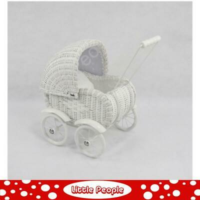 GERMAN DOLLS PRAM-White Cane Dolls Pram Heirloom last one