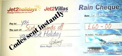 Jet2Holidays £60 Rain Cheque voucher Expire October 2020 ALL NEW CODES