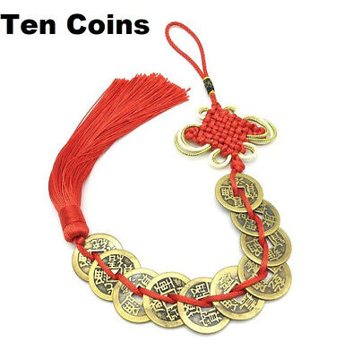 Lucky Chinese Feng Shui Coin For Wealth And Success Lucky Ten Coins Red Tassel