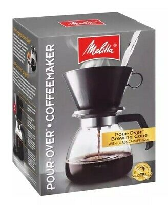 NEW Melitta, Pour Over Brewing Cone with 52oz Glass Carafe, 640616