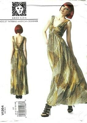 Vogue Sewing Pattern 1354 by Anne Klein, Draped Bodice Dress, Size 6 - 14 NEW
