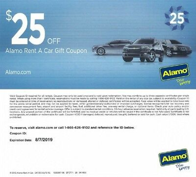 Alamo car rental voucher coupon $25 value for use in the USA