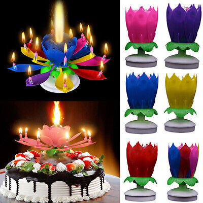Blossom Lotus Flower Double-deck Rotating Birthday Candle Magic Party Decoration