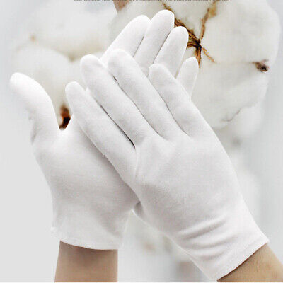 6 Pairs White Soft Thin Cotton Gloves Profession Coin Jewelry  Inspection Work