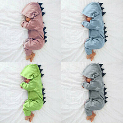 Newborn Infant Baby Boy Girl Dinosaur Hooded Romper Jumpsuit Outfits Clothes