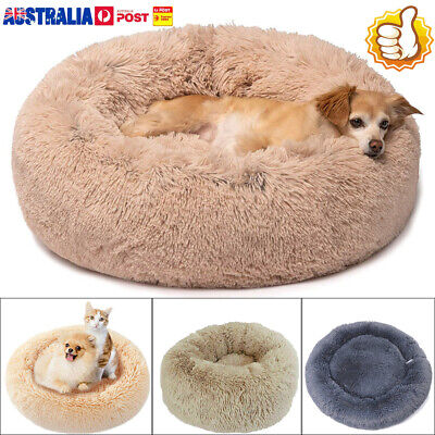 50-70CM Pet Calming Bed Round Nest Faux Fur Donut Cat Dog Beds Self Warming LG