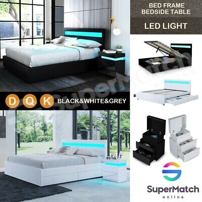 D/Q/K Size PU Leather Solid Wooden Gas Lift Storage LED Light Bed Frame BK/WH