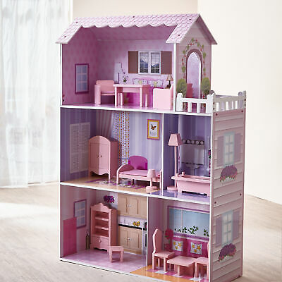 Pink Wooden Doll House & Furniture Large Kids Play Gift Teamson Kids KYD-10922A