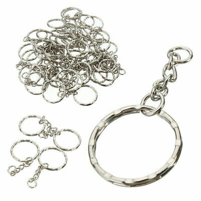 100Pcs Silver Keyring Blanks Tone Key Chains Key Split Rings With 4 Link Chain