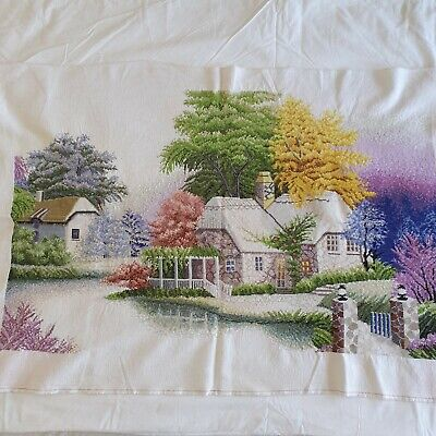 Completed Unframed Large Cross Stitch Picture Trees & Cottages A00039