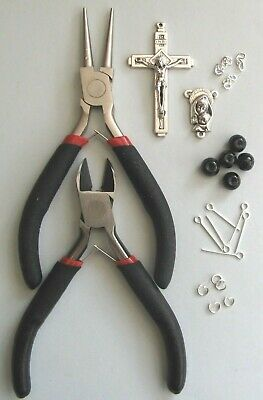 Rosary Making Starter Kit With Instructions (Black Glass Pearls)